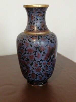 Vintage  Chinese/Japanese, Brass Cloisonné Vase With Floral Decoration 26cm Tall