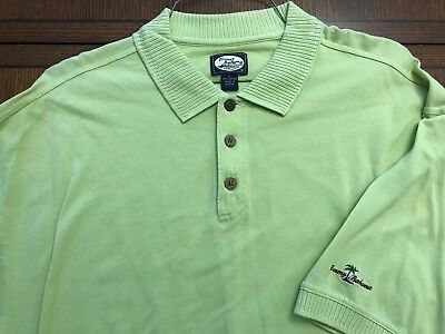 Tommy Bahama Yellowish Green 100% Cotton Polo Shirt Exc Cond Sz L