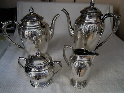 Art Deco Ornate Silver Plate Holmes & Edwards Coffee Tea Creamer Sugar 4 pc Set
