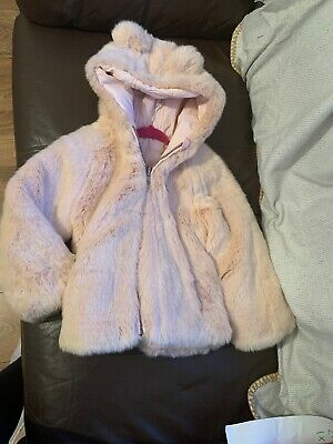 Marks And Spencer Girls Pale Pink Reversible Fur Coat Age 4-5