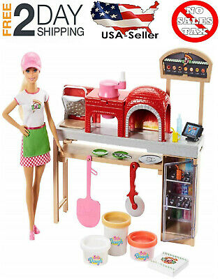 🚛Free Fast Shipping! {NEW} Barbie Pizza Chef Doll and Playset, Blonde