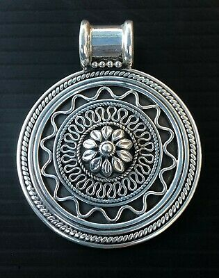 "Handmade Pendant Sterling Silver Round Bali Style Oxidized 40mm or 2"", 19.5g"