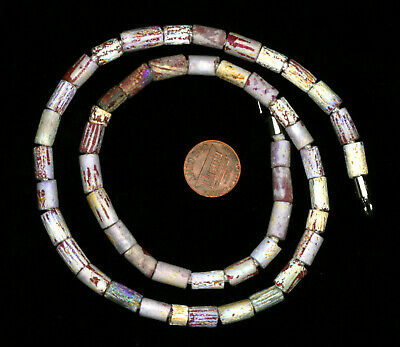 Ancient glass beads: genuine ancient Roman iridescent glass necklace,1-2 century