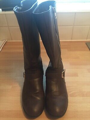 Girls Brown Knee High Boots, Size 13