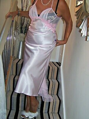STUNNING VINTAGE GLOSSY PINK SATIN LACY FULL LENGTH GOWN.'SHIRLEY of HOLYWOOD'