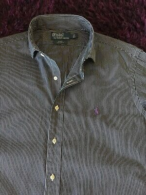 Super Cool 100% Genuine Ralph Lauren 'Regent' Custom Fit Striped Shirt In XL