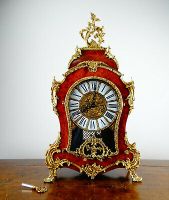 Antique French Louis XIV Rococo Style Boulle Mantel Clock Franz Hermle Striking
