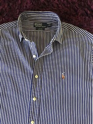 Super Cool 100% Genuine Ralph Lauren 'Stanton' Custom Fit Striped Shirt In XL