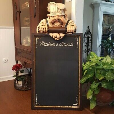 "49"" Pastry Chef w Chalkboard Menu Statue Restaurant Kitchen Cook LOCAL PICKUP!!"