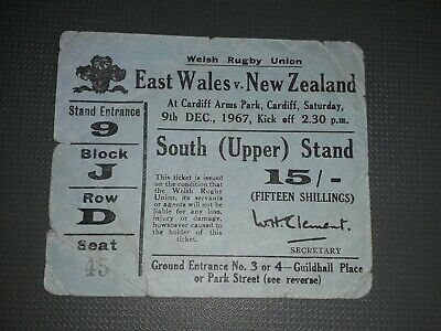 1967 East Wales V New Zealand All Blacks Tour Match Rugby Union Ticket