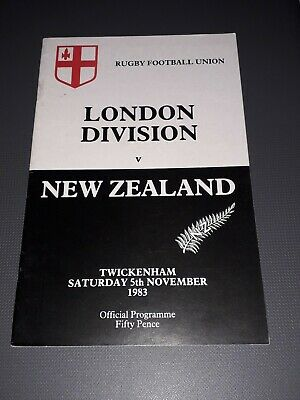 1983 London Division V New Zealand All Blacks Tour Rugby Union Programme