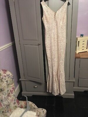 Nude With Sequins Formal Long Fishtail Dress Size 10