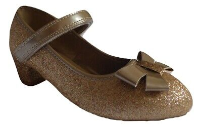 Girls sparkly glittery gold small heel dress up party shoe