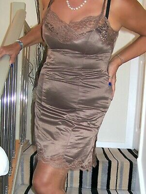 Stunning Vintage Ultra Glossy Brown Nylon Lacy Full Slip. 38