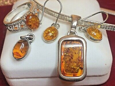 Vintage Estate Sterling Silver Lot Amber  Earrings Drop  Pendant Ring Chain 17 '