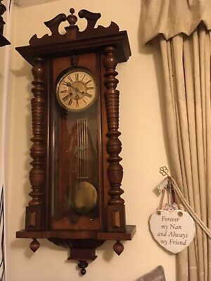 Large Vienna Wall Clock With Decorative Top Pediment And Side Pillars