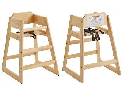 Wood High Chair Stacking Ready-to-Assemble Light Finish Restaurant Compliant