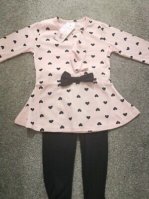 Girls Pink Heart Tunic Top & Leggings Outfit Size 110 / 3-4 Yrs Bnwt