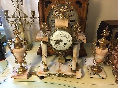 French Marble Portico  Clock Set With Decorative Garniture  & Bell Chime (b)