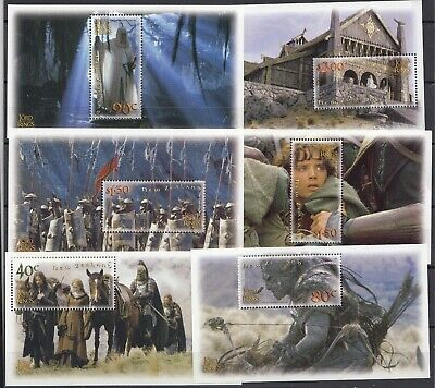 New Zealand 2002 Lord Of The Rings - The Two Towers Set Of 6 MS, All MNH
