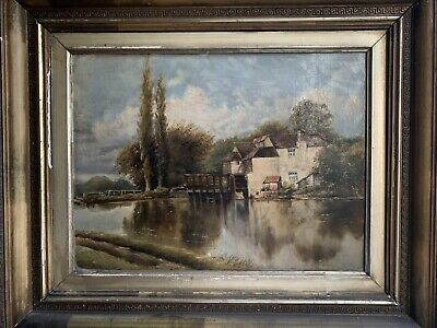19th CENTURY ANTIQUE OIL ON CANVAS OF FRENCH RIVER WATERMILL AT WORK - BEAUTIFUL