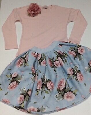 Monnalisa Girls Floral Skirt Outfit Age 8