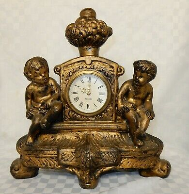 Vintage Gebr Hauser Mercedes Plaster Cherub Mantle Clock Antique Gold Effect
