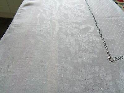 "Vintage White Damask Tablecloth 59"" X 59"" - With Floral Pattern & Openwork"