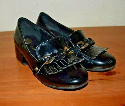 Girls River Island Black Patent Shoes size 12/13