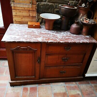 Victorian Or Edwardian Marble Topped Mahogany Washstand Cupboard Storage Upcycle