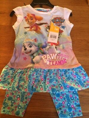 Paw Patrol Nickelodeon Girls Pyjama Set Top & Leggings Age 3 Brand New With Tags