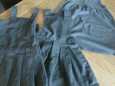 Girls School Uniform X 3 Pinafore Dresses Grey
