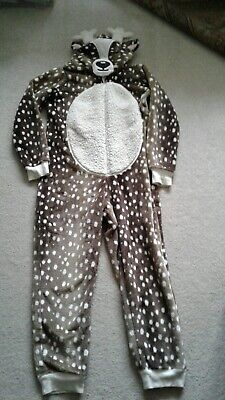 Marks and Spencer Reindeer One piece Fleece Sleep suit Size 9-10 Years