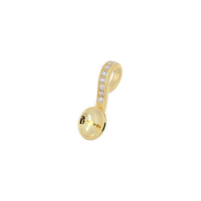 3.4mm Hole 2PC Gold Plated Sterling Silver Glue on Flat Pad Pendant Bail 99733