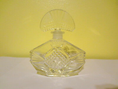 Vintage Crystal Perfume Bottle Decanter & Stopper Cut Clear Glass Etched