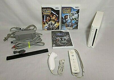 Nintendo Wii White Console and Star Wars Game Lot