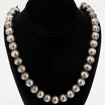 """VTG Sterling Silver MEXICO TAXCO Ball Bead Strand 27.75"""" Heavy Necklace - 141g"""