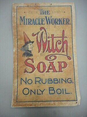 Rare Early Witch Soap Cardboard Advertising Sign . Halliday Bros Litho Adelaide