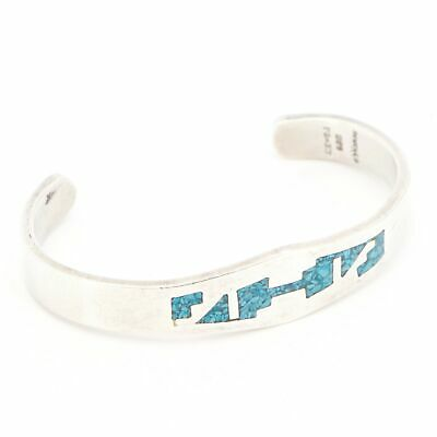 """VTG Sterling Silver - MEXICO TAXCO Turquoise Inlay 6.5"""" Cuff Bracelet - 32g"""