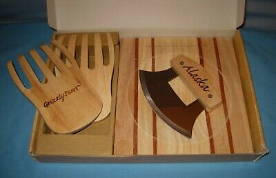 Alaska Ulu Knife Set-Curved Knife Wood Handle Chopping Board & Grizzley Paws!