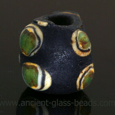 Ancient glass beads: genuine ancient Roman bead with stratified eyes, 1 century