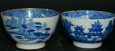 2 Early Blue & White Tea Bowls - Info Welcome On Makers - L@@K