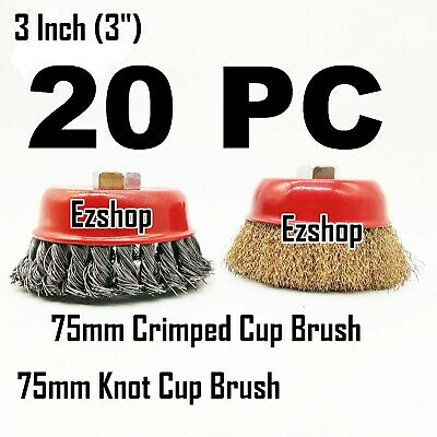 "20pcs x 3"" Twist Knot & 3"" Threaded Arbor Crimp Cup Wire Wheel Wire Cup Brush"