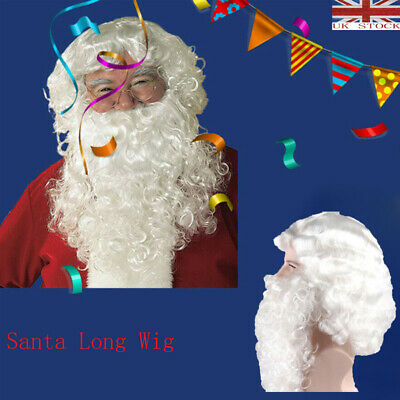 UK Santa Long Wig and Beard Adult Magician Wizard Fancy Costume Accessories NEW