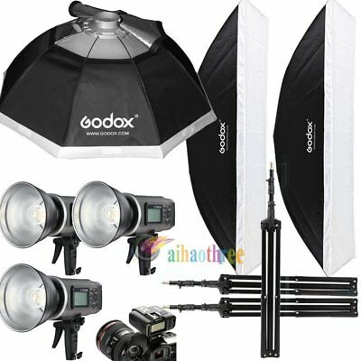 3Pcs Godox AD600B 600W TTL HSS 1/8000s Studio Flash Strobe Softbox Trigger Stand