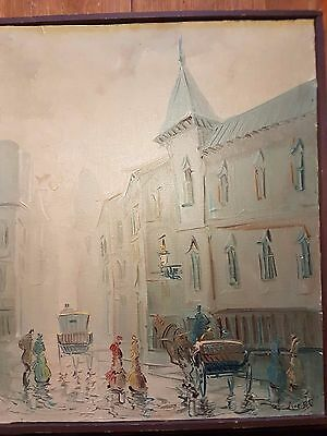 Beautiful painting town carriages and people around 1900. signed,