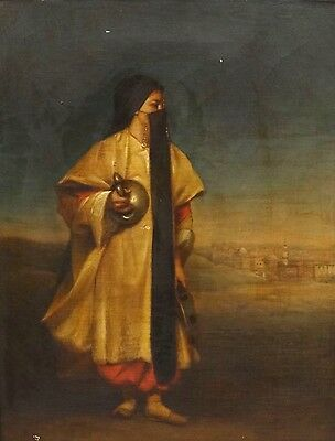 Fine 19th Century Orientalist Dancing Arab Girl Portrait Antique Oil Painting