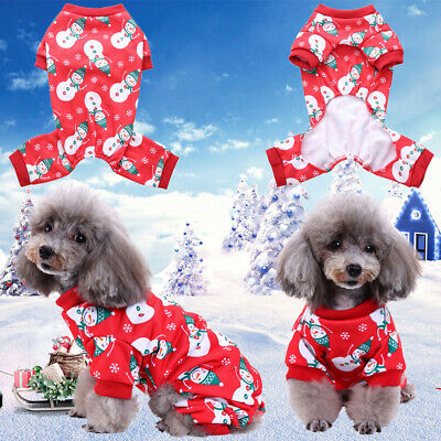 Pet Cat Dog Christmas Outfit Costumes Snowman Hoodie Dress Xmas Clothes Coat UK