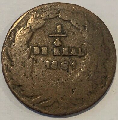 1861 Mexico Chihuahua 1/4 Real Coin