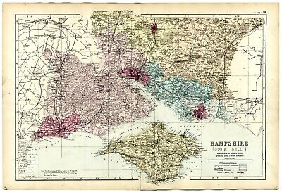1891 Antique Map HAMSHIRE SOUTH Isle of Wight SOUTHAMPTON New Forest WINCHESTER